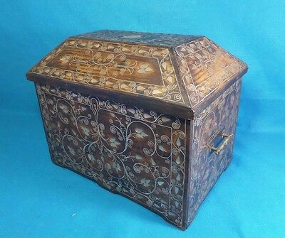 "Moroccan Syrian Mother Of Pearl Inlaid  Ottoman Domed Chest ""free Shipping"""