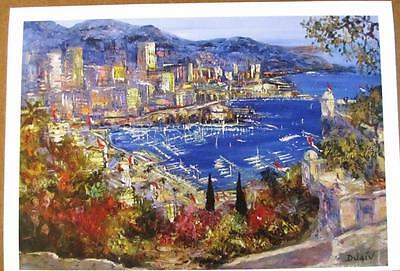 """Duaiv """"Harbor by the Sea"""" Plate Signed Fine Art Lithograph French Scenic"""