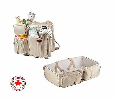 3 in 1 Travel Diaper Bag - Bassinet Change Station Portable Crib Bed Cot with...