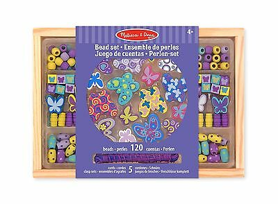 Melissa & Doug Butterfly Friends Wooden Bead Set With 120 Beads for Jewelry-M...