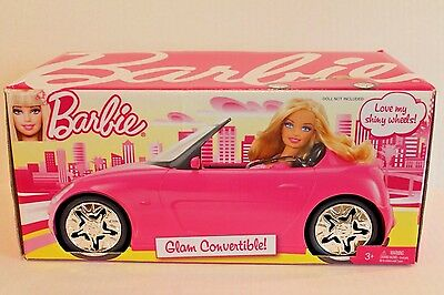 Barbie Pink Glam Convertible Car Doll Vehicle w Pink & White Patterned Seats NEW