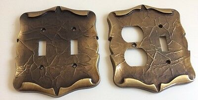 Vintage Brass Metal Parchment Leather Look Light Switch/Outlet Cover Set Plates
