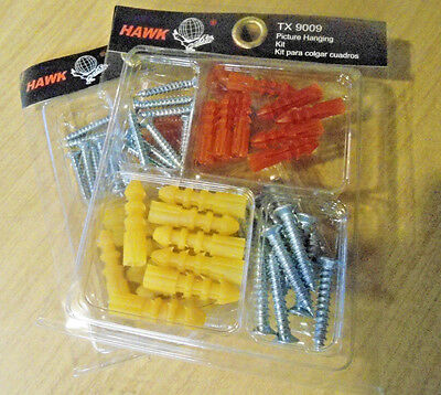2 PACK of PLASTIC WALL ANCHORS with SCREWS ~ 60 TOTAL PIECES