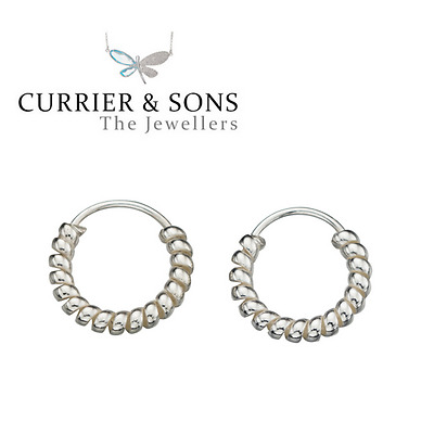 925 Sterling Silver Small 10mm Twisted Hoop Sleeper Earrings (Pair)
