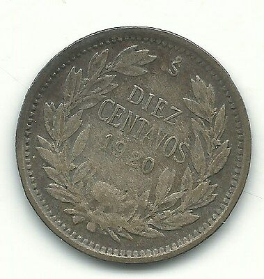 G/vg 1920 Chile Silver 10 Centavos Coin-Defiant Condor On Rock-Agt467