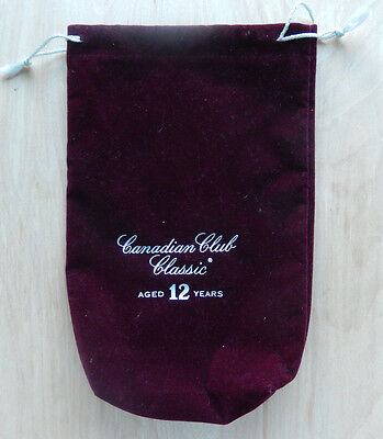"""Canadian Club Classic """"Aged 12 Years"""" Velvet Bag & STRING MINT Condition"""