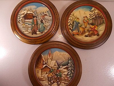 Lot Of 3 Anri Wooden 3-D Christmas Plates 1971 #849, 1974, #0959, 1979 #5378