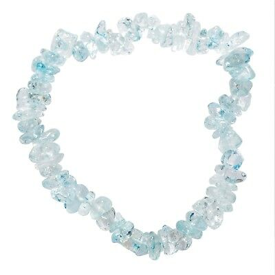 CHARGED Blue Topaz Crystal Chip Stretchy Bracelet + Bay Selenite Puffy Heart