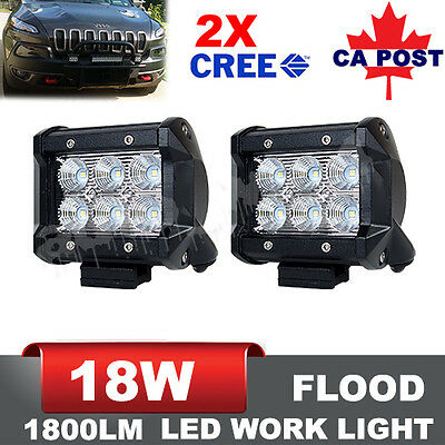 2x 4inch 18W Flood CREE LED Work Light Bars Offroad 4WD Fog ATV SUV Driving Lamp