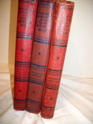 "Vintage ""Pictorial History of the Second World War""  Volumes 2, 3 & 4, Illustrat"