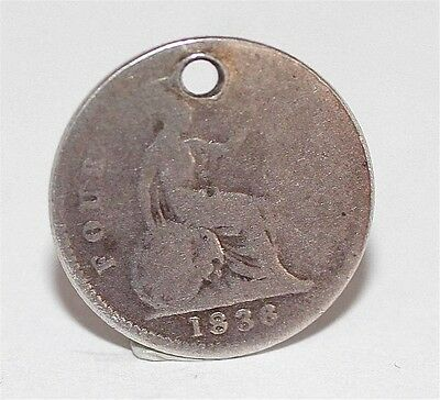 Antique Sterling Silver 1836 Four Pence 4P Coin Bracelet Charm (Genuine)