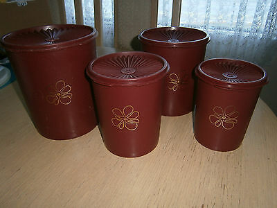 Tupperware - Set 4 Burgundy Canisters - Press Seal Lids - Vintage / Retro