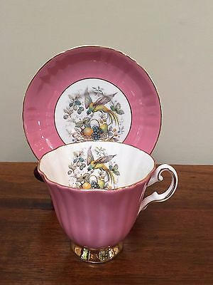Vintage Royal Grafton PINK FRUIT BASKET BIRD Footed Cup & Saucer with Gold Trim