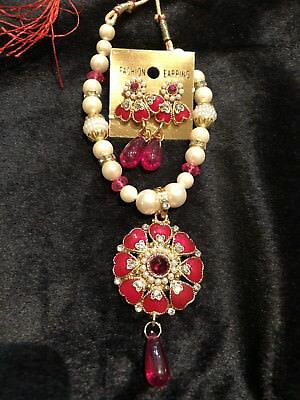 L15 Bollywood Kids Girls Indian Necklace Earrings Jewellery Beads White Pink Set