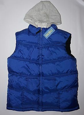 Nwt Boys Gymboree Vest Hoodie Jacket~10-12~Royal Blue-Gray~Outdoor-Fleece Lined