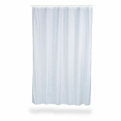 Anti-Mould Shower Curtain, Solid Colour, in Blue and White, Fabric, Bathtub