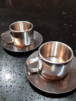 SUNBEAM Stainless Steel DOUBLE WALLED Espresso Cups & Saucers