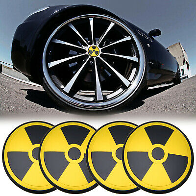 4pcs Nuclear Warning Symbol Wheel Center Hub Caps Emblem Badge Sticker Decal