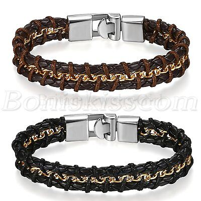 Men's Braided Leather Stainless Steel Wheat Buckle Bracelet Bangle Cuff Chain