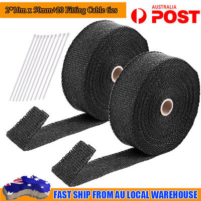 2 X Pcs 2000F Black Exhaust Heat Wrap 50Mm X 15M + 20 Stainless Steel Ties