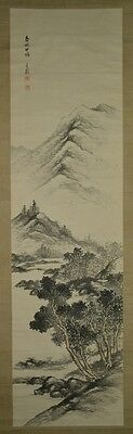 Hanging Scroll Japanese Painting Landscape Old Asian Art Japan ink Picture t76
