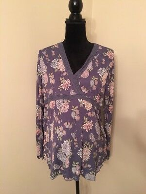 Old Navy Maternity Blue Floral Print Nylon Top Size Large