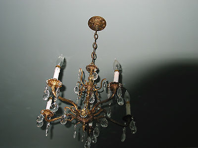 vintage ANTIQUE 5 ARM  BRASS ceiling  light CHANDELIER w/ prisms