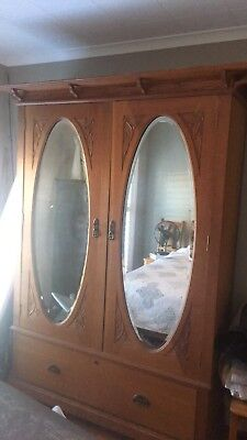 Antique 1900's Collectible Silky Oak Australiana Wardrobe