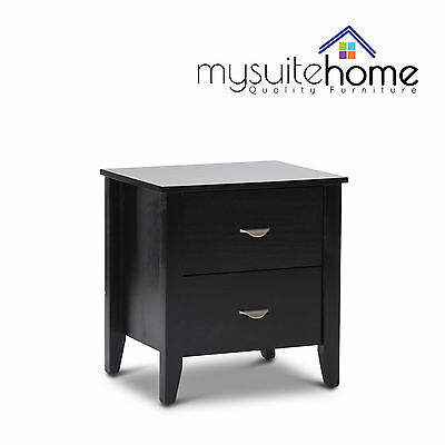 Kira Dark Solid Pine Timber Bedside Table Nightstand Cabinet 2 Storage Drawers
