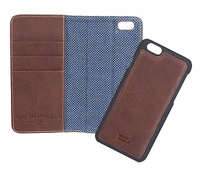 Levi 41LV250020 Levi's Brown Hybrid Wallet/iPhone 6/6s Magnetic Phone Case