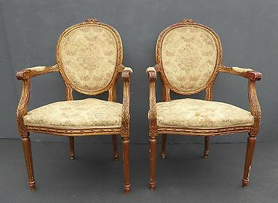 GORGEOUS Pair Vintage French Provincial Louis XVI Carved Gold Arm CHAIRS