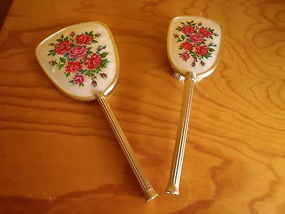 Vintage hairbrush and mirror set