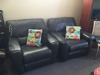 Lounges Leather Recliner Two Singles One Seaters