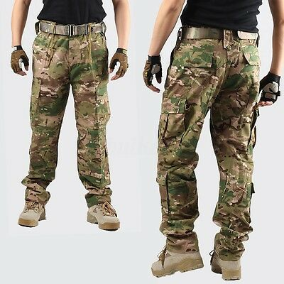 Men Combat Cotton Cargo Long Pants Pro Military Camouflage Camo Trousers Hunting