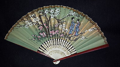 Vintage Oriental Hand Held Fan Hand Painted with apple blossom and bamboo sticks