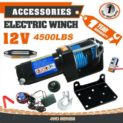 4500LBS/2041kg Electric Winch Synthetic Rope camping Remote Wireless ATV Caravan