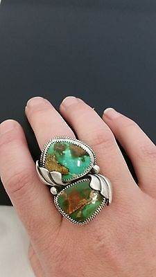 Royston Turquoise Two Stone Ring, Navajo Sterling Silver