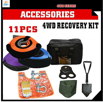 11 PCS Recovery Kit Snatch Straps Bow Shackles Pulley Block Shovel Damper 4WD