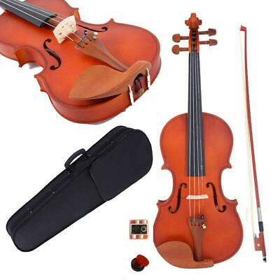 4/4 Full Size Natural Color Acoustic Violin +Case+Bow+Rosin+Tuner+String