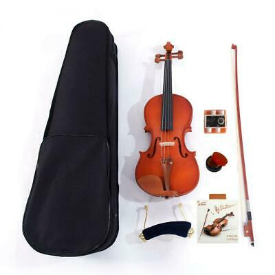 New 4/4 Matte Maple Wood Natural Acoustic Violin Fiddle w/ Case Row Rosin Tuner