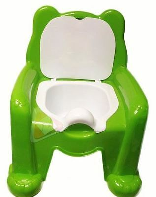 Easy Clean Kids Toddler Bear Potty Training Chair Seat Removable Lid