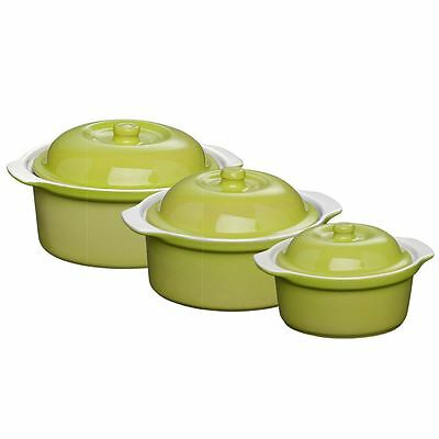 Kitchen OvenLove Casserole Dish Heat Resistant Lime Green Stoneware With Lid