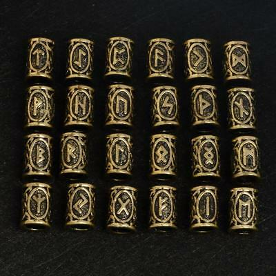 24Pcs/Set Norse Viking Runes Beads Findings Pendants Necklace Hair Jewelry LE
