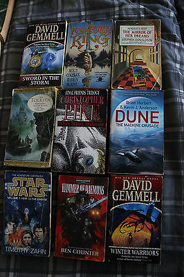 Job Lot of 9 Sci Fi / Fantasy books Dune, Pike,Gemmell etc, COLLECTION only
