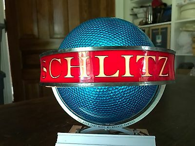 Nice Vintage 1961 Schlitz Beer Lighted Revolving Saturn Globe Sign Tabletop