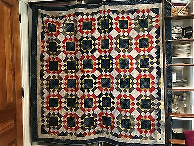 "INCREDIBLE Early 1900's Hand-Pieced 78""x 76"" Quilt UNUSED/UNWASHED Indigo Red"