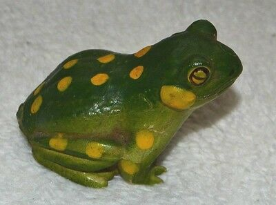 Vintage Chalkware Frog Figurine Small Painted Green with Yellow Spots