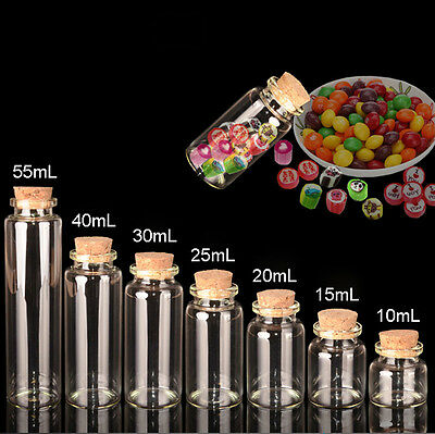10mL~55mL Dia 30mm Cork Stopper Glass Bottle Clear Empty Wish Jars Vials Pendant
