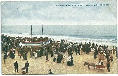 Vintage Postcard. Launch of Lifeboat,  Mablethorpe. Used 1910. Ref:78156