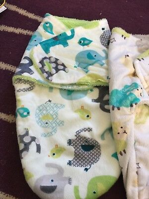 Unisex fleece swaddle blankets x2. Velcro new no tags newborn-4 months